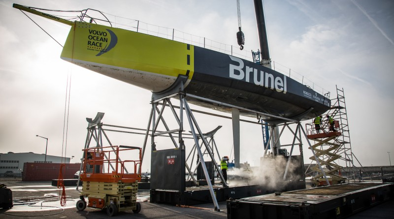 Team Brunel´s 2014-15 boat, the third into the Boatyard´s refit process, is hauled out of the water in Lisbon, Portugal ahead of a €1 million upgrade.