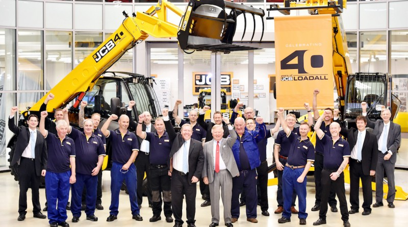 "Pictured is JCB Chairman Lord Bamford and Loadall MD Ian Pratt celebrating the 40th anniversary of the JCB Loadall with colleagues.  MANY HAPPY RETURNS AS LOADALL MARKS 40 YEARS IN PRODUCTION   JCB is today celebrating a major milestone in its long record of innovative machine design – the 40th anniversary of the Loadall telescopic handler.  First launched on October 20th 1977 the machine mechanised lifting and loading tasks on building sites more usually carried out by a small team of men. The potential for the Loadall in agriculture was also quickly harnessed and it went on to revolutionise materials handling tasks on farms, stacking bales, loading muck and shovelling grain, replacing rudimentary tractor mounted hydraulic loaders.  JCB has sold more than 220,000 Loadalls to date, generating more than £7 billion in sales - £4.5 billion of which has been from exports.  Daily output of JCB telehandlers at the World HQ in Staffordshire is currently at its highest level ever, with the number of machines built expected to increase by 25% by the end of the year compared to 2016. Such is the success of the product that one Loadall rolls off JCB's Rocester production line every six minutes. The business making the machines today employs more than 1,200 people.  Today JCB Chairman Lord Bamford said: ""When we launched the Loadall in 1977, we sold just 64 machines that year but we were very confident that the telescopic handler would grow in popularity simply because it made jobs so much easier on construction sites and on farms. ""The concept soon took off and the faith we put in the telescopic handler four decades ago has been repaid. It's wonderful to celebrate 40 years of success of the Loadall with production hitting historic levels. ""I'd like to congratulate everyone around the world who has contributed to this success over the past 40 years. We must now look forward to the next 40 years and build on what has been achieved so far."" More . . . .   2/ . . . Eddie Finney, 59, of Rocester, is a Team Leader in Loadall. He said: ""I started my JCB career in 1976 in the machine shop but the following year I transferred and started working on the Loadall assembly line. At the time there were only four Loadalls coming off the line every day. I can't believe the volume we have now achieved 40 years later."" Kevin Holley, 60, of Uttoxeter, works in the Loadall Fabrication Shop on a laser machine. He said: ""I joined JCB in 1978, working on a gas cutter for several types of machine. I then became a gas profile cutter for the Loadall division. At that time, with only four a day coming off the line, Loadall was thought to be the poor relation because it wasn't as busy as backhoe. But I could see the potential straight away. It did amazing things and nobody else had anything like it.""  Keith Weston, 61, of Marston Montgomery, near Rocester, has worked in Maintenance at JCB since 1973. He said: ""I have been on general manufacturing maintenance for most of my career but I was responsible for shot blasting and painting on the Loadall assembly line in the 1980s. In the early days I never realised Loadall would reach the volume of sales that it has. I have been proud to work on it.""